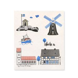 Houses by the Sea Dishcloth 스웨덴 행주 (멀티)
