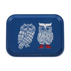 [~2/6까지] Lovely Owls 우드트레이 27x20cm (블루)
