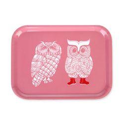 [~2/6까지] Lovely Owls 우드트레이 27x20cm (핑크)
