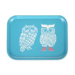 Lovely Owls 우드트레이 27x20cm (터쿼이즈)