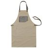 (AA1513) canvas leather string apron grey