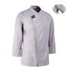 (AJ1587) hidden cool mesh point chef coat grey
