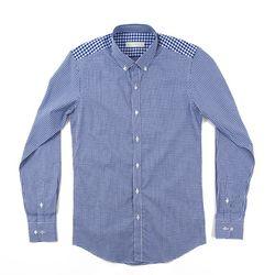 (AS1303) small check shirts blue