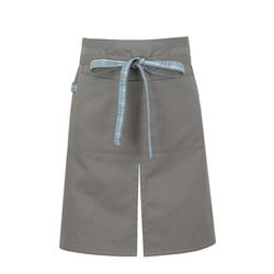 (AA1606) tartan check point apron grey