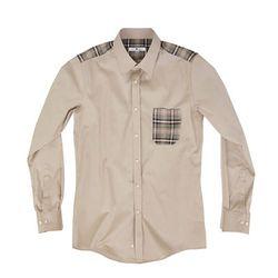 (AS1605) tartan check point shirts brown
