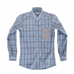 (AS1606) tartan check shirts skyblue