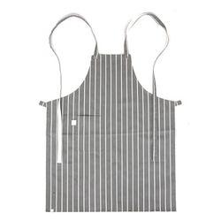 (AA1616) block striped chest apron grey