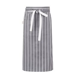 (AA1613) block striped waist apron grey