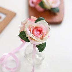 브라이덜샤워 꽃팔찌-피치핑크로즈
