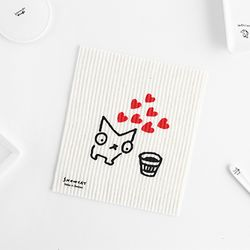 SNOWCAT Dishcloth 스웨덴 행주 - Heart