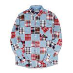 CRAZY PATCHWORK SHIRTS SKYBLUE&RED