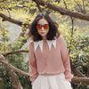 뽀족이 화이트 카라 블라우스-핑크 트라이앵글