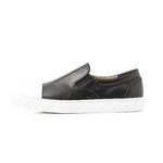 REAL LEATHER CAP TOE SLIP ON