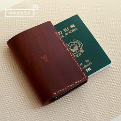 [천연소가죽] 베이직 여권 커버(크림슨레드)