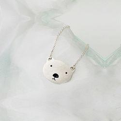 실버 미아방지 곰돌이 목걸이 - 얇은 각체인