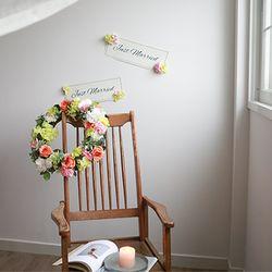 실크플라워 웨딩카장식-오렌지로즈앤수국