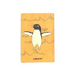 멸종위기동물 알림 나무엽서 [Rockhopper Penguin]