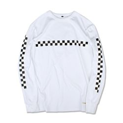 CHECKERBOARD LS TEE WHITE