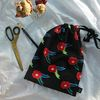 black flower linen pouch