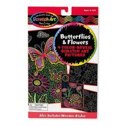 스크래치 아트 라인 나비와 꽃