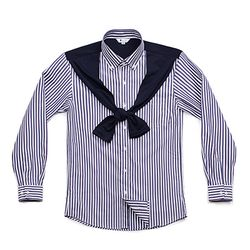 (AS1713) cardigan line striped shirts navy
