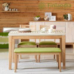 핀란디아 로제타 4인대리석식탁세트(의자2+벤치1)
