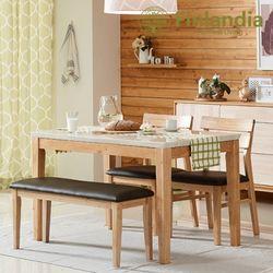 핀란디아 스웰 4인대리석식탁세트(의자2+벤치1)