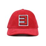 RED 3 CORDUROY BALL CAP-RED