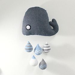 [손뜨개 DIY] 데님 고래 물방울 모빌