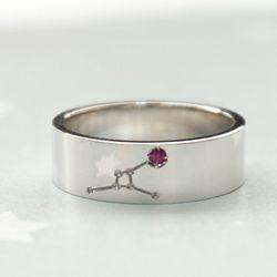 실버 + 천연탄생석 별자리 반지