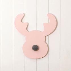 핑크 레인디어 벽장식 및 후크 - Small