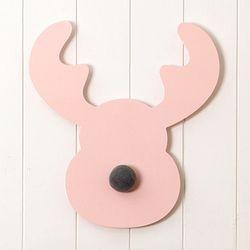 핑크 레인디어 벽장식 및 후크 - Medium