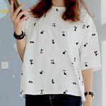 길냥이 키츠 패턴 티셔츠