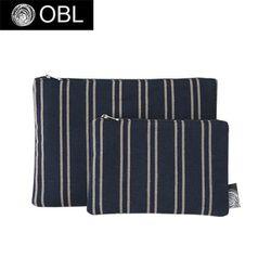 OBL 스트라이프 네이비 파우치(M)