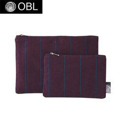 OBL 스트라이프 퍼플네이비 파우치(M)
