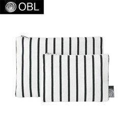 OBL 스트라이프 화이트 파우치(M)