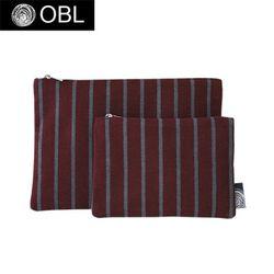 OBL 스트라이프 버건디 파우치(S)
