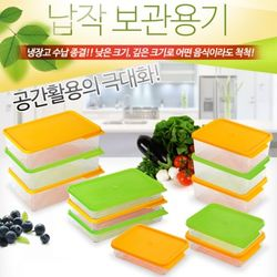 냉장고 정리 용기폴리텍 납작용기 대형10개세트