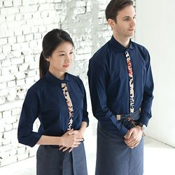 (AS1745) ader flower navy shirts