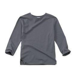 (AT1755) boat-neck washing round tee dark grey