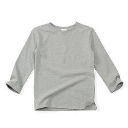 (AT1780) boat-neck washing cotton round tee grey