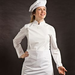 (AJ1455) slim chef coat white - woman