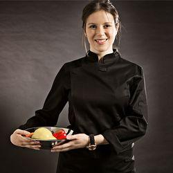 (AJ1455) slim chef coat black - woman