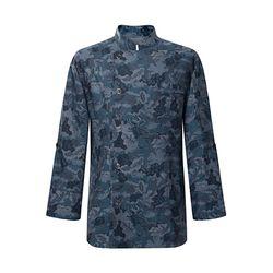(AJ1738) leaf pattern chambray chef coat