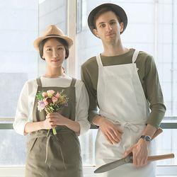 (AA1761) HAKATA cotton apron moca grey