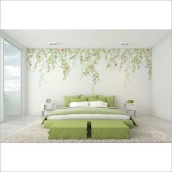 침실 인테리어 포인트 벽지 스템플라워 꽃 뮤럴 벽지