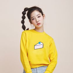 cake embroidery sweat shirt - yellow