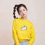 cake embroidery sweat shirt - yellow