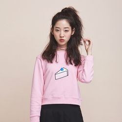 cake embroidery sweat shirt - pink