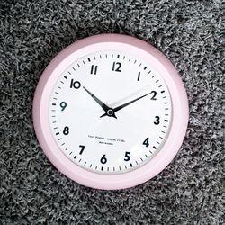 레트로 컬러 저소음 벽시계 - 핑크